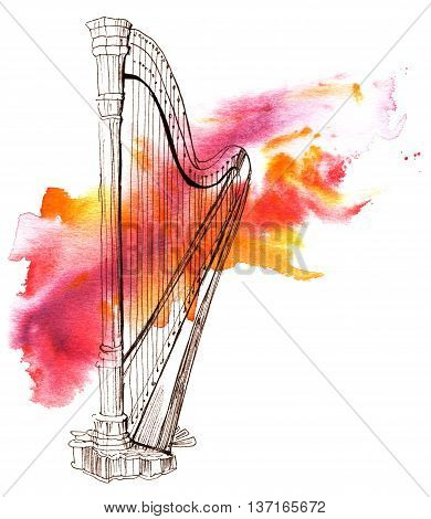 A pen and ink drawing of a vintage harp with a grunge watercolor stain