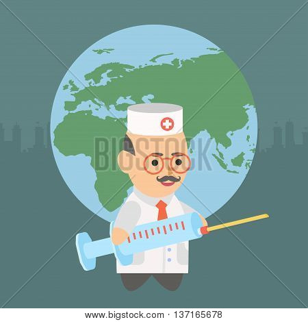 Vector clipart doctor gives the world a vaccine