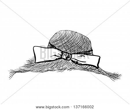 Hand drawn straw hat with bow. Fashion illustration.
