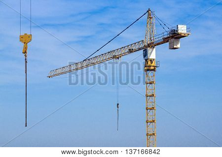 Heavy Duty Crane And Blue Sky With Second Hoist