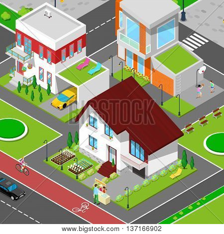Isometric City Cottage Dormitory Area with Houses, Bicycle Path and Sports Playground. Vector illustration