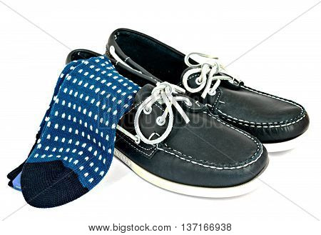 Blue Docksides deck shoes with hand-linked toes socks isolated on white