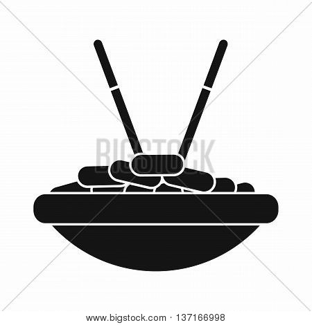 Bowl of rice with chopsticks icon in simple style isolated vector illustration. Food and utensils symbol