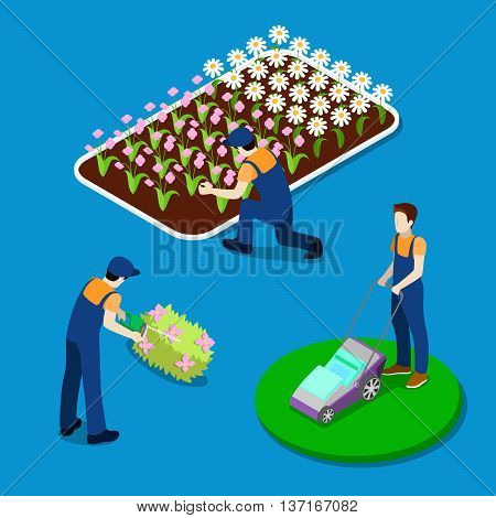 Gardener Trimming Plants. Garden Worker Using Lawn Mower. Isometric People. Vector illustration