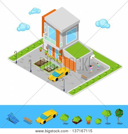 Modern Cottage House with Garage, Basketball Playground and Green Roof. Isometric Building. Vector illustration