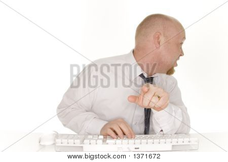 Business Man Pointing At Computer