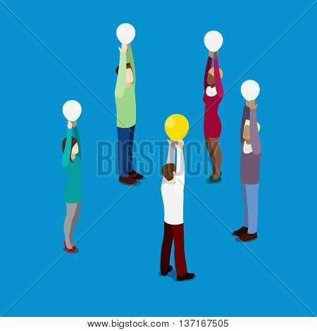 Isometric Business People. Office Workers with Light Bulbs. Man Had an Idea. Vector illustration