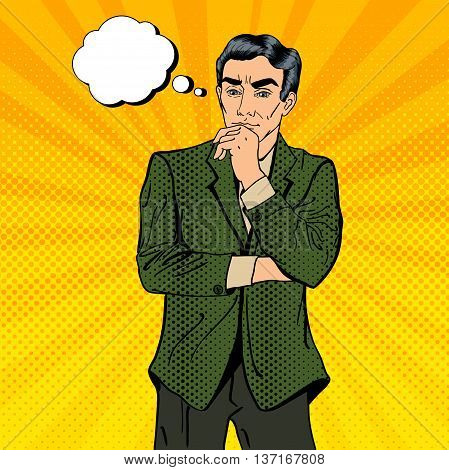 Thoughtful Businessman. Uncertainty in Decision Making. Pop Art. Vector illustration