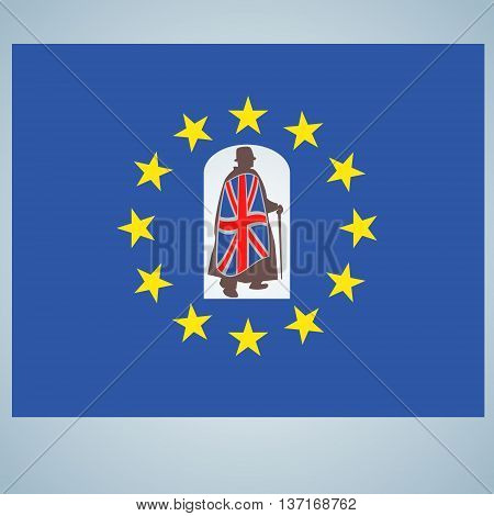 Brexit vector concept. British flag and EU flag creative sign. UK exit from EU