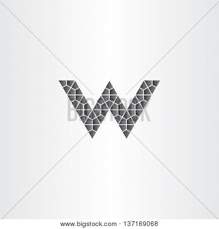 Geometric Black Letter W Vector Logo Icon Symbol