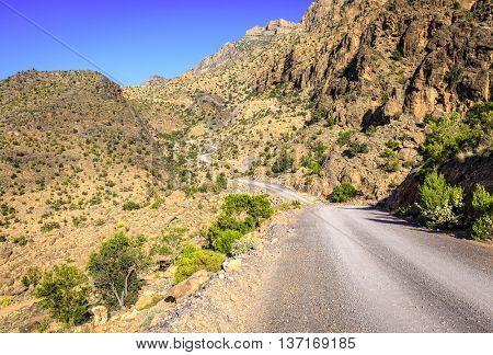 A dirt road through Al Hajar mountains in Oman