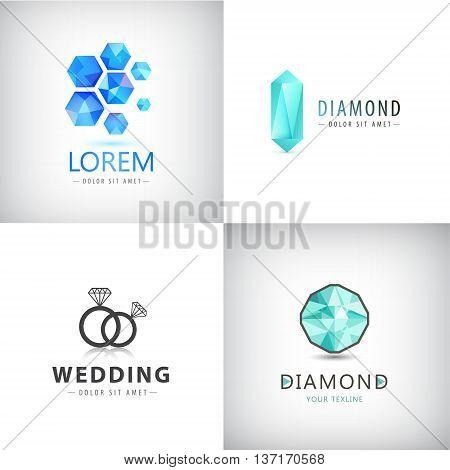 Vector set of jewelery logos, diamond illustration, crystal icons, wedding rings logo