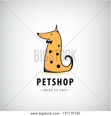 Vector dog logo, pet shop icon, veterinary. Dog with bow tie sitting illustration