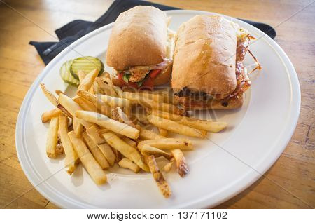 Grilled chicken panini with crispy side of fries