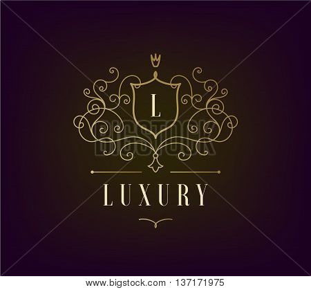Vector Luxury Logo template flourishes with calligraphic elegant ornament lines. Business sign, identity for Restaurant, Royalty, Boutique, Cafe, Hotel, Heraldic, Jewelry. Classic style
