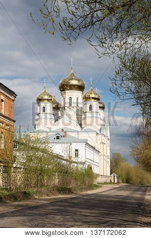Orthodox convent Our Lady of Kazan in Vyshny Volochyok Russia. Andronikova Church of Our Lady of Sorrows.