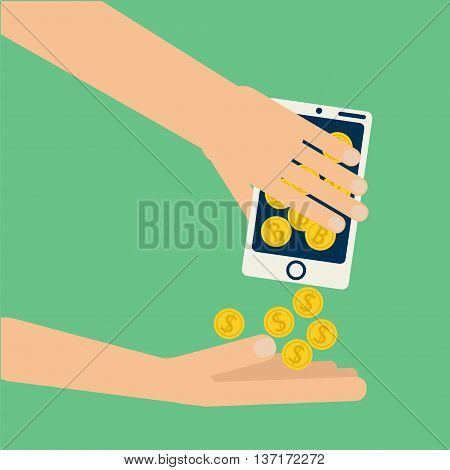 Hands shaking smartphone with bitcoin collecting dollar coins. Vector illustration on virtual money online business commerce exchange in flat style