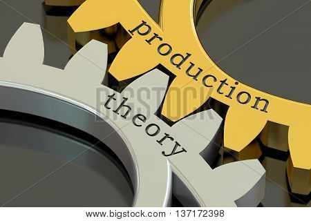 production theory concept on the gearwheels 3D rendering