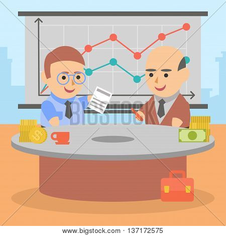 Vector clipart two businessman entered into a mutually beneficial contract