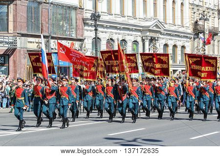 St. Petersburg, Russia - 9 May, Parade of military operation, 9 May, 2016. Memory Action