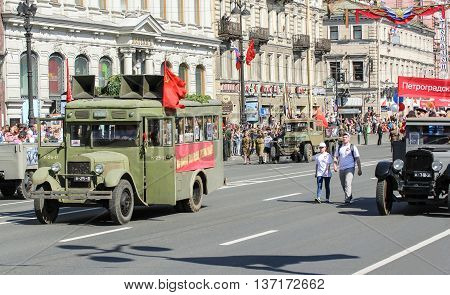 St. Petersburg, Russia - 9 May, Vintage cars on Nevsky Prospekt, 9 May, 2016. Memory Action