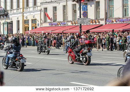 St. Petersburg, Russia - 9 May, Bikers on the avenue of the city, 9 May, 2016. Memory Action