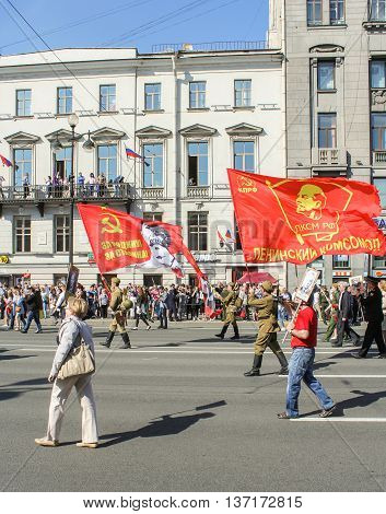 St. Petersburg, Russia - 9 May, Soldiers with flags of the Soviet Union, 9 May, 2016. Memory Action