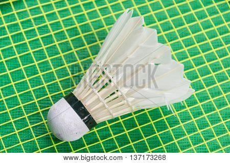 White shuttlecock on yellow racket net and green floor.