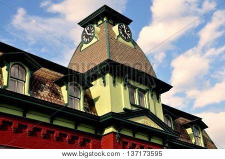 Bennington Vermont -September 18 2014: Mansaard roof clock tower of the 1880 North Bennington Railway Station