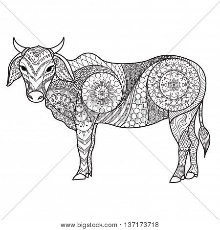 Clean lines doodle design of cow for adult coloring,T-Shirt design,Tattoo, children coloring book ,anti stress coloring book and so on - Stock Vector
