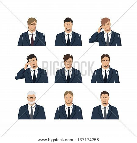 The young man in a suit. A set with different hairdresses. Vector.