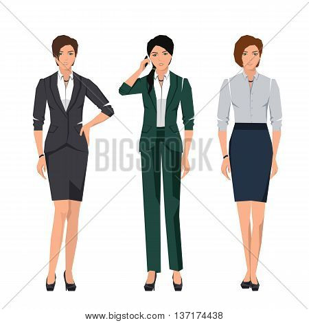 Active young women in suits for office. Vector set.