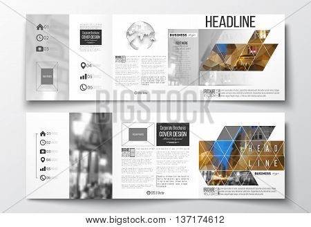 Vector set of tri-fold brochures, square design templates with element of world globe. Colorful polygonal background, blurred image, night city landscape, modern stylish triangular vector texture.