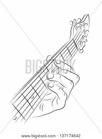 Hand playing guitar chord line art illustration