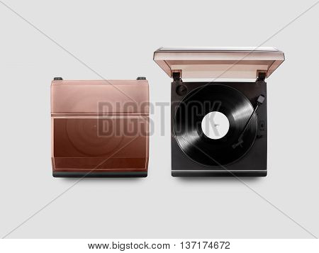 Gramophone vinyl player mockup opened and closed, top view, isolated. Talking machine play blank sound plate mock up. Retro phonograph design from above. Spinning vinyl template audio disc