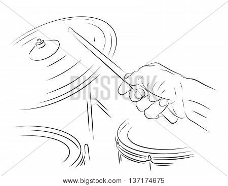 Playing drums line art illustration. Hitting ride cymbal