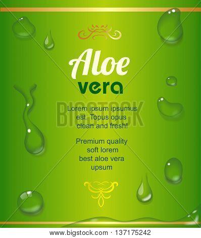 Aloe Vera juice drops elements on green fresh background realistic vector label illustration