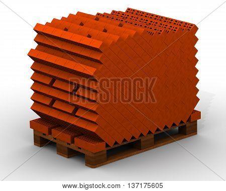 Bricks stacked on pallet. Ceramic bricks stacked on a pallet. The full pallet of bricks. Isolated. 3D Illustration