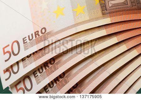 close-up view of stack of 50 euro
