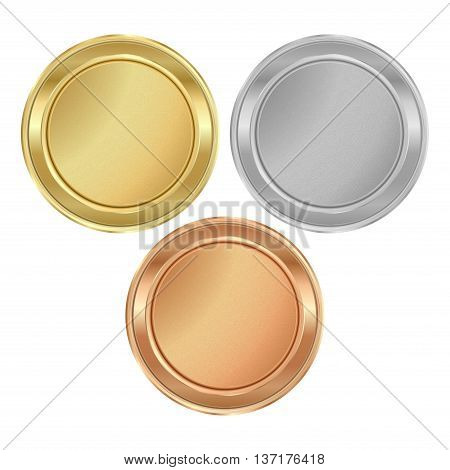 Vector round medal with empty texture of gold silver bronze