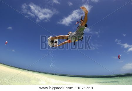 Kiteboard Big Air With Grab