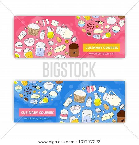 Vector banner templates with hand drawn culinary items isolated on white background. Used clipping mask.