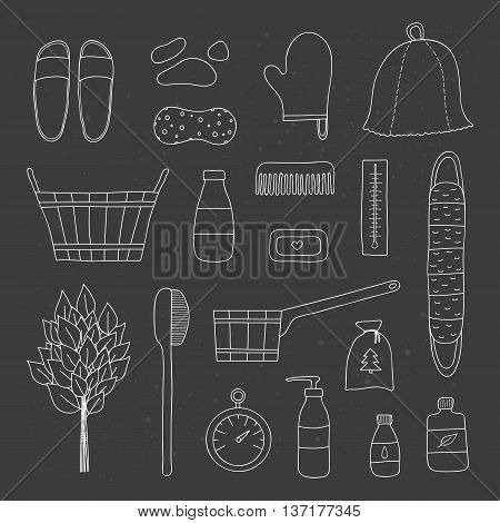 Hand drawn outline bath and sauna items on the blackboard. Sauna hat birch broom wooden bucket comb cosmetics soap body brush wisp thermometer essential oils.