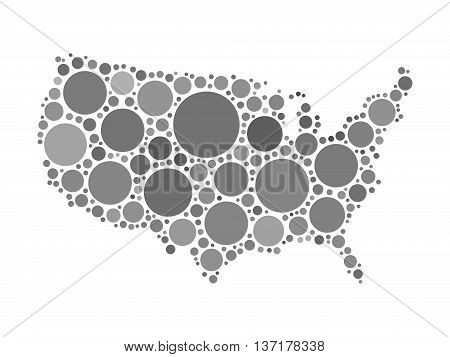 Map of United States of America, or USA. Mosaic of grey dots in various sizes on white background. USA map modern design background.