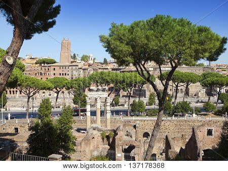 Italy. Rome. Ruins of Trajan forum in a sunny day
