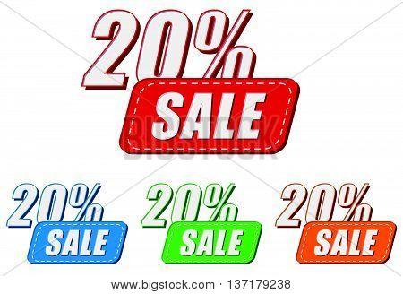 20 percentages sale, four colors labels, flat design, business shopping concept, vector