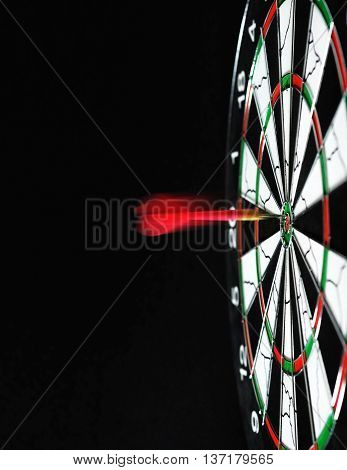 Slow Motions Red Dart Hitting On Dartboard Target.