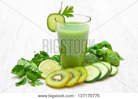Healthy drink green vegetable and fruit juice