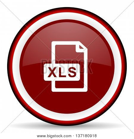 xls file round glossy icon, modern design web element