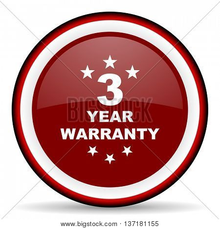 warranty guarantee 3 year round glossy icon, modern design web element